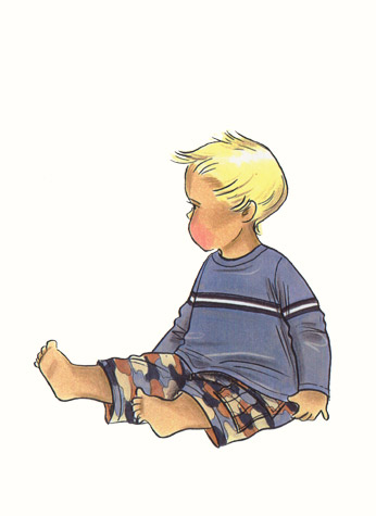 Male toddler in camouflage pants and casual top. This copyrighted image is the work of British Fashion Illustrator Hilary Kidd