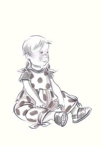 Female toddler in polka-dot outfit. This copyrighted image is the work of British Fashion Illustrator Hilary Kidd