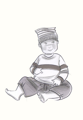 Male toddler in Capri pants, jumper and hat. This copyrighted image is the work of British Fashion Illustrator Hilary Kidd