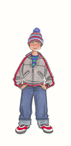 Childrenswear: pre-teens.  Boy in trainers, jeans, zipped jacket and bobble-hat. This copyrighted image is the work of British Fashion Illustrator Hilary Kidd