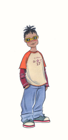 Childrenswear: pre-teens. Boy in sunglasses and casual clothes.  This copyrighted image is the work of British Fashion Illustrator Hilary Kidd