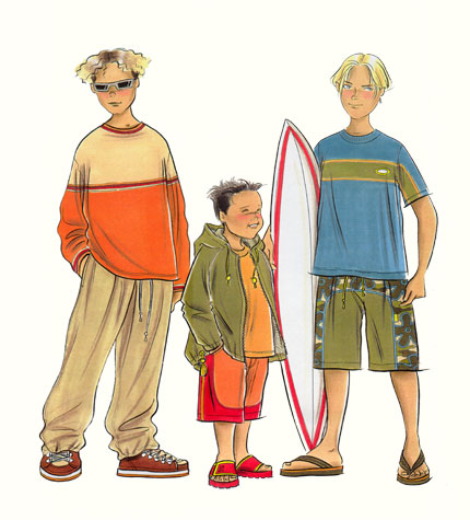 Childrenswear: pre-teens.  Three boy figures in casual and beachwear, one carrying a surfboard.  This copyrighted image is the work of British Fashion Illustrator Hilary Kidd