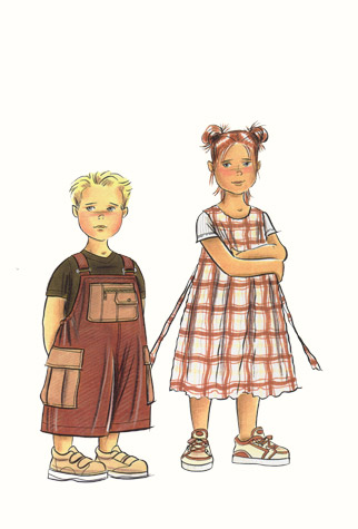 Childrenswear: pre-teens. Boy in dungarees and girl in checked dress.  This copyrighted image is the work of British Fashion Illustrator Hilary Kidd