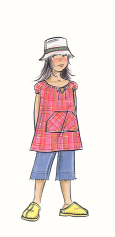 Childrenswear: pre-teens. Girl figure in clogs, smock-top, cropped jeans and soft hat.   This copyrighted image is the work of British Fashion Illustrator Hilary Kidd
