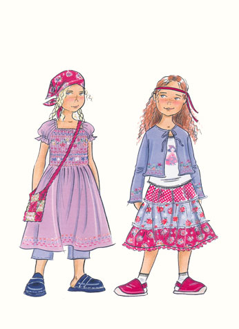 Childrenswear: pre-teens.  Two girl figures in pretty floral prints.  This copyrighted image is the work of British Fashion Illustrator Hilary Kidd