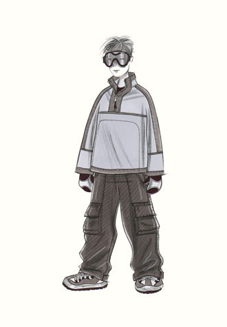 Childrenswear: teens.  Male figure in snowboarding outfit and goggles.  This copyrighted image is the work of British Fashion Illustrator Hilary Kidd