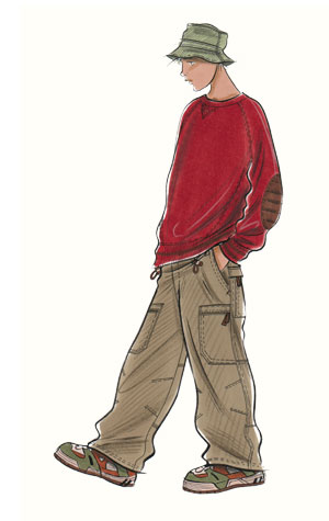 Childrenswear: teens.  Male figure in red jumper and soft hat.  This copyrighted image is the work of British Fashion Illustrator Hilary Kidd