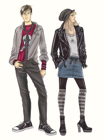 Childrenswear: teens.  Two older teen figures in denim and leather.  This copyrighted image is the work of British Fashion Illustrator Hilary Kidd