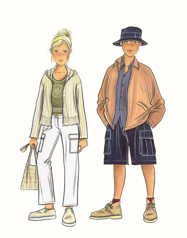 Childrenswear: teens.  Girl and boy in casual/beachwear.  This copyrighted image is the work of British Fashion Illustrator Hilary Kidd
