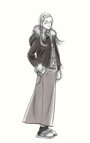 Childrenswear: teens.  Female figure in long denim skirt, patterned jumper and hooded top with fur trim.  This copyrighted image is the work of British Fashion Illustrator Hilary Kidd