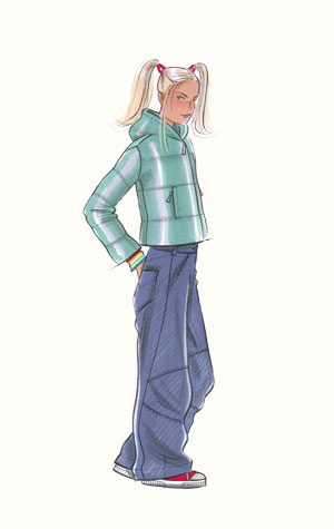 Childrenswear: teens.  Female figure in sneakers, jeans and padded zipper-jacket.  This copyrighted image is the work of British Fashion Illustrator Hilary Kidd