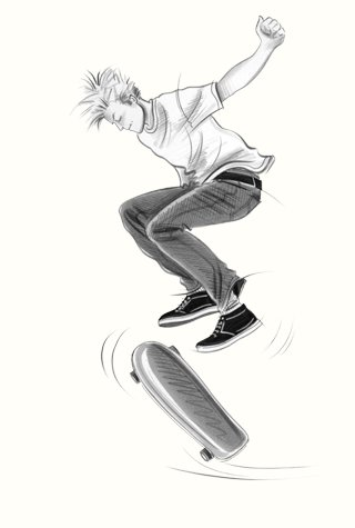 Childrenswear: teens.  Skateboarder jumping.  This copyrighted image is the work of British Fashion Illustrator Hilary Kidd