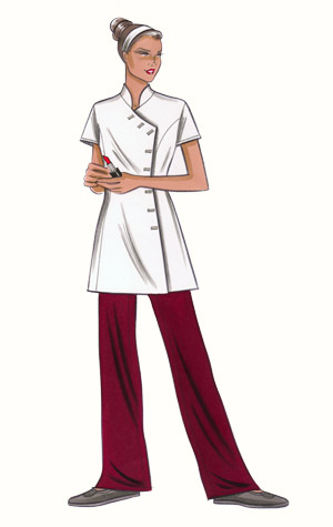 Beautician's uniform. This copyrighted image is the work of British Fashion Illustrator Hilary Kidd