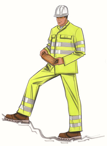 Building site safetywear. This copyrighted image is the work of British Fashion Illustrator Hilary Kidd