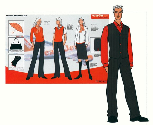 Staff uniforms for Easyjet. This copyrighted image is the work of British Fashion Illustrator Hilary Kidd