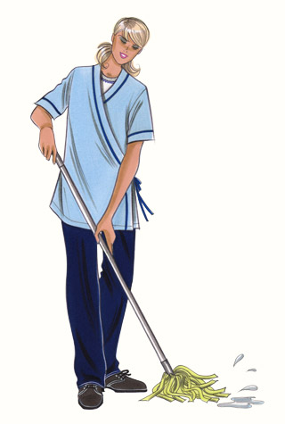 Hospital cleaning staff uniform. This copyrighted image is the work of British Fashion Illustrator Hilary Kidd