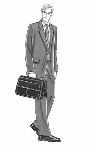 Office/businesswear for men.  Male figure in a business suit, carrying a laptop bag. This copyrighted image is the work of British Fashion Illustrator Hilary Kidd