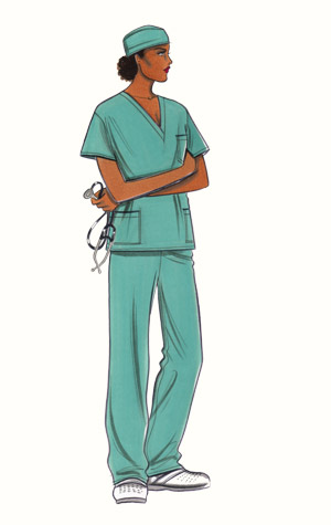 Operating theatre scrubs. This copyrighted image is the work of British Fashion Illustrator Hilary Kidd