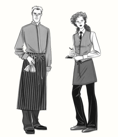 Restaurant waiter and waitress. This copyrighted image is the work of British Fashion Illustrator Hilary Kidd