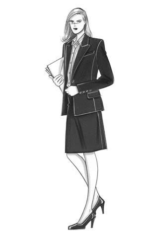 Office/businesswear for women.  Female figure in a business suit, carrying papers.  This copyrighted image is the work of British Fashion Illustrator Hilary Kidd