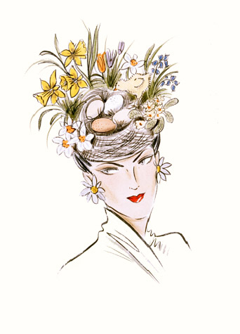 Easter bonnet: Woman wearing bird's nest headwear with spring flowers. A copyrighted greetings card image by British Illustrator Hilary Kidd