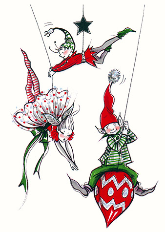 Elves with Xmas Baubles.  A copyrighted greetings card image by British Illustrator Hilary Kidd