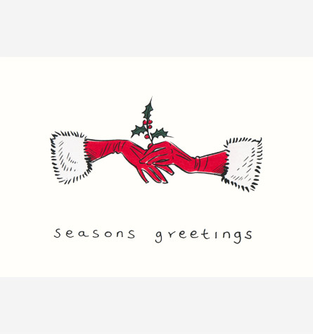 Pair of red gloves with fur trim, holding a sprig of holly.  A copyrighted greetings card image by British Illustrator Hilary Kidd