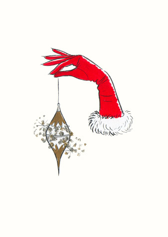 Gloved hand holding Xmas tree bauble. A copyrighted greetings card image by British Illustrator Hilary Kidd