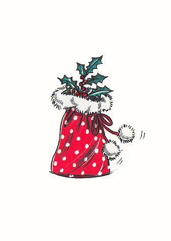 Red polka-dot pouch with fur trim and holly.  A copyrighted greetings card image by British Illustrator Hilary Kidd