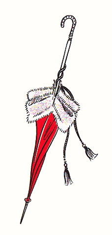 Red umbrella with fur trim. A copyrighted greetings card image by British Illustrator Hilary Kidd