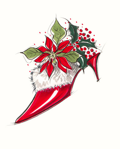 Red stiletto-heel shoe with fur trim, poinsettia, holly and berries. A copyrighted greetings card image by British Illustrator Hilary Kidd