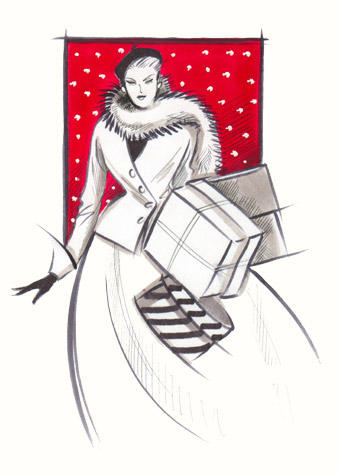 Elegant woman in beret and fur wrap, carrying presents. A copyrighted greetings card image by British Illustrator Hilary Kidd