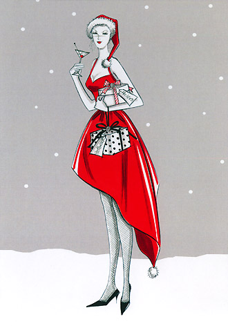 Woman in red dress with cocktail glass and presents: 2010 Christmas card for Holbrook Studio.  A copyrighted illustration by British Illustrator Hilary Kidd
