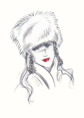 Woman in fur hat.  A copyrighted greetings card image by British Illustrator Hilary Kidd