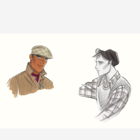 Male accessories: flat cap and peaked soft cap. This copyrighted image is the work of British Fashion Illustrator Hilary Kidd