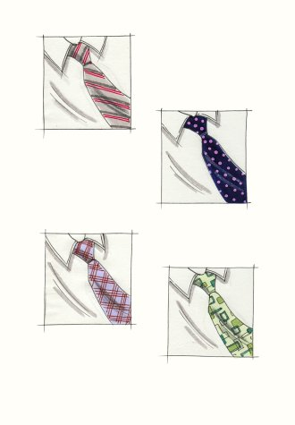 Male accessories: four examples of patterned neckties. This copyrighted image is the work of British Fashion Illustrator Hilary Kidd