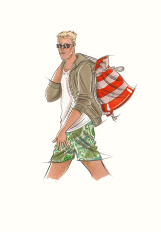 Male accessories:  man in patterned shorts and hooded top, carrying striped duffel-bag. This copyrighted image is the work of British Fashion Illustrator Hilary Kidd