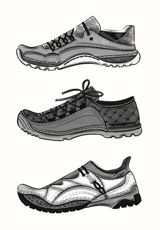 Male accessories: two styles of trainer.  This copyrighted image is the work of British Fashion Illustrator Hilary Kidd