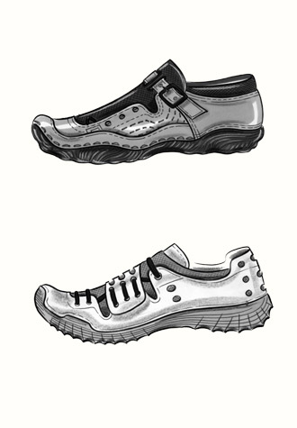 Male accessories: three styles of trainer.  This copyrighted image is the work of British Fashion Illustrator Hilary Kidd