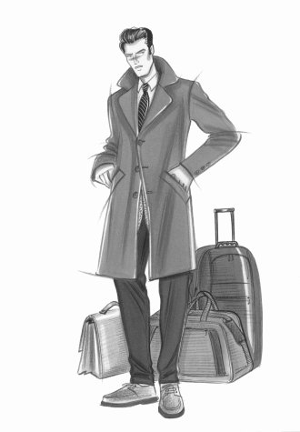 Male accessories: man in three-quarter length coat, suit and loafers, with travel baggage. This copyrighted image is the work of British Fashion Illustrator Hilary Kidd
