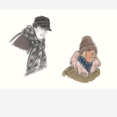Male accessories: winter hats, scarves, mufflers and coats. This copyrighted image is the work of British Fashion Illustrator Hilary Kidd