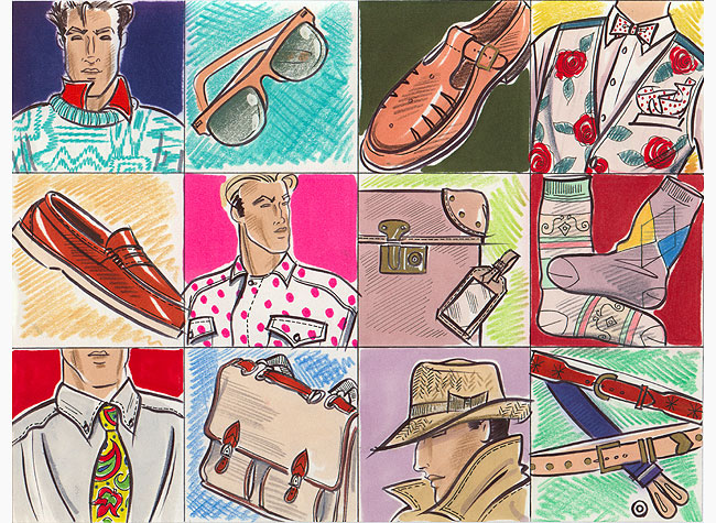 A panel of 12 images depicting various items of Male accessory. This copyrighted image is the work of British Fashion Illustrator Hilary Kidd