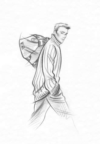 Male accessories:  striding man in polo-neck sweater with bag. This copyrighted image is the work of British Fashion Illustrator Hilary Kidd