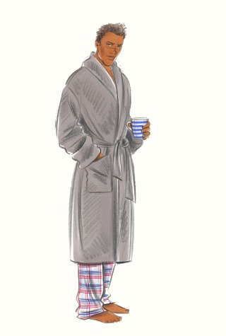 Man in pyjamas and dressing-gown. This copyrighted image is the work of British Fashion Illustrator Hilary Kidd