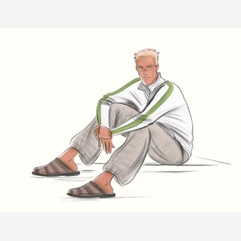 Seated man in casual clothes. This copyrighted image is the work of British Fashion Illustrator Hilary Kidd
