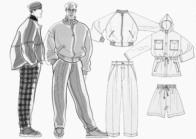 Male casual wear: two figures with flatwork of outdoor clothing.  This copyrighted image is the work of British Fashion Illustrator Hilary Kidd