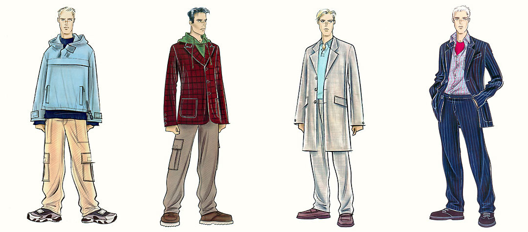 Male casual wear: trainers, loafers, combat pants, suits and jackets.  This copyrighted image is the work of British Fashion Illustrator Hilary Kidd