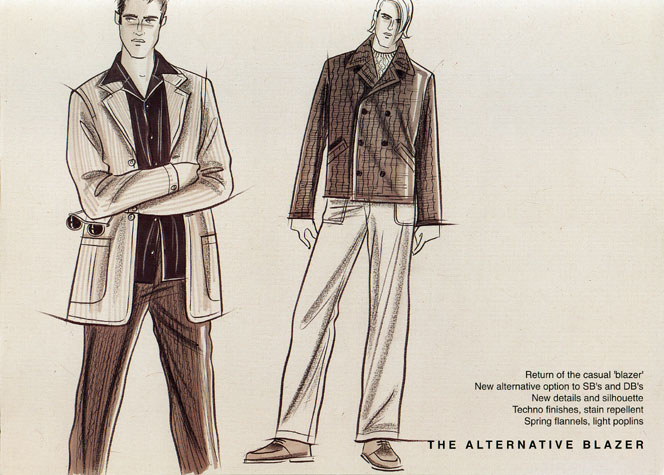 Male casual wear: the alternative blazer.  This copyrighted image is the work of British Fashion Illustrator Hilary Kidd