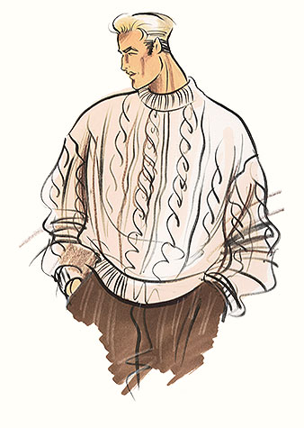 Male casual wear: the chunky sweater.  This copyrighted image is the work of British Fashion Illustrator Hilary Kidd
