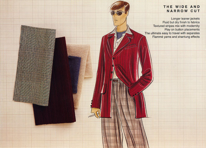 Male casual wear: the wide and narrow cut.  This copyrighted image is the work of British Fashion Illustrator Hilary Kidd